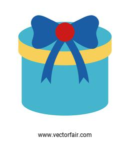 Gift with bowtie flat style icon vector design