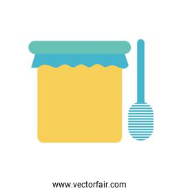 honey jar with stick flat style icon vector design