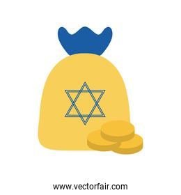 jewish gelt bag with coins flat style icon vector design
