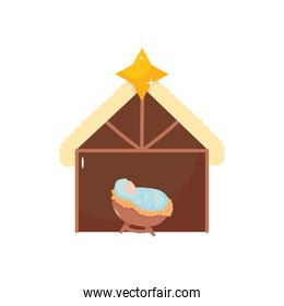 icon of baby jesus in a manger, flat style