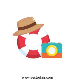 lifebuoy with hat and photographic camera, flat style
