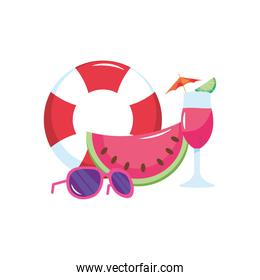 lifebuoy with watermelon, cocktail and sunglasses, flat style