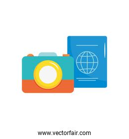 photographic camera and passport icon, flat style