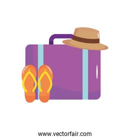 travel suitcase with hat and flip flops, flat style