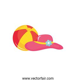 beach ball and hat, flat style