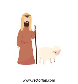 Nativity concept, Joseph with a sheep, flat style