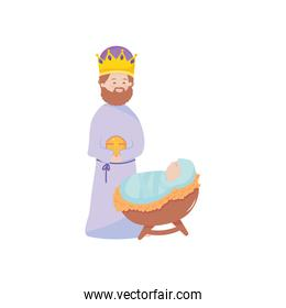 cartoon Baby jesus and Melchior magi wise icon, flat style