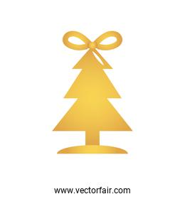 golden christmas tree with a bow, flat style