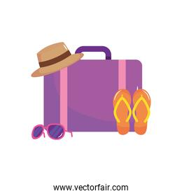 travel suitcase with umbrella, flip flops and sunglasses, flat style