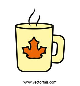 coffee mug with dry leaf icon, line and fill style