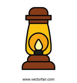 camping lantern icon, line and fill style