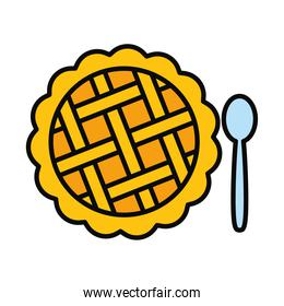 apple pie and spoon icon, line and fill style