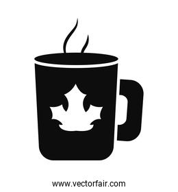coffee mug with dry leaf icon, silhouette style