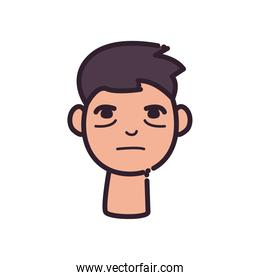 man cartoon with insomnia line and fill style icon vector design