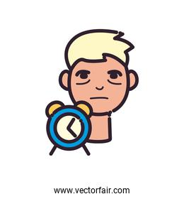 man cartoon with insomnia and clock line and fill style icon vector design