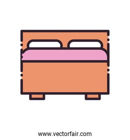 home bed line and fill style icon vector design