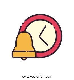 bell and clock line and fill style icon vector design