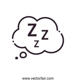 sleeping cloud bubble line and fill style icon vector design