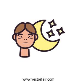 man cartoon with insomnia and moon line and fill style icon vector design
