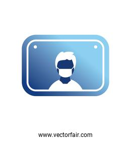 man with mask in road sign gradient style icon vector design