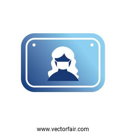 woman with mask in road sign gradient style icon vector design
