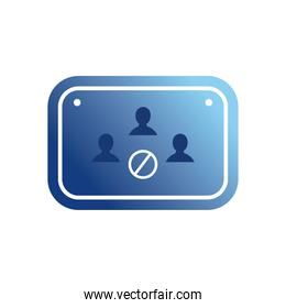 avoid crowd in road sign gradient style icon vector design