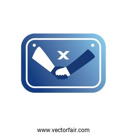 do not shake hands in road sign gradient style icon vector design