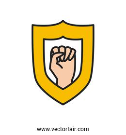 fist hand up in shield line and fill style icon vector design