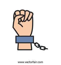 fist hand up with chain line and fill style icon vector design