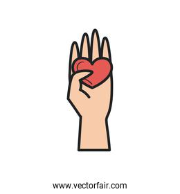 Heart on hand line and fill style icon vector design