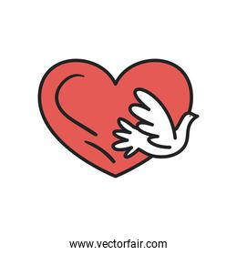 dove with heart line and fill style icon vector design