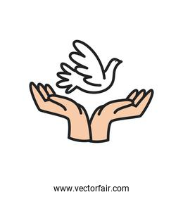 dove over hands line and fill style icon vector design