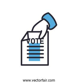 hand holding vote paper line and fill style icon  design
