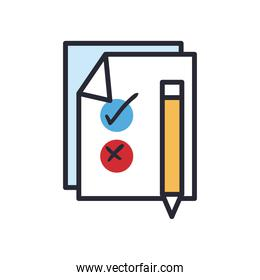 vote paper with pencil line and fill style icon vector design