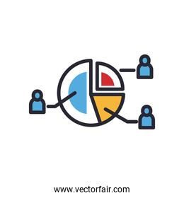 pie chart with people line and fill style icon vector design