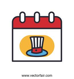 usa hat in calendar line and fill style icon vector design