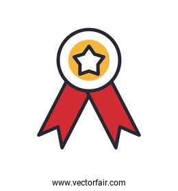 seal stamp with star line and fill style icon vector design