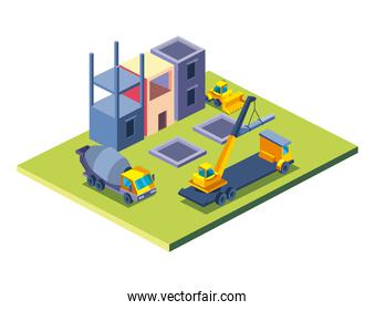 construction concrete mixer and factory isometric style icon vector design