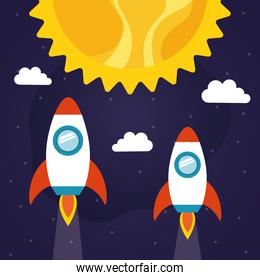 Space rockets with sun and clouds vector design