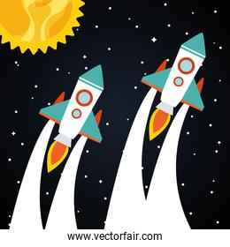 Space rockets with sun on starry background
