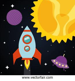 Space rocket with sun planet and ufo on starry background vector design