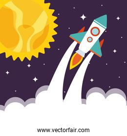 Space rocket with sun and clouds on starry background vector design