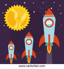 Space rockets with sun on starry background vector design