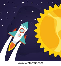 Space rocket with sun on starry background vector design