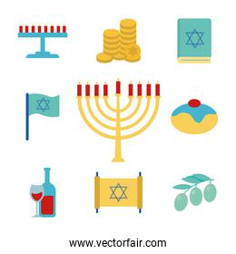 Hanukkah and jewish flat style icon set vector design