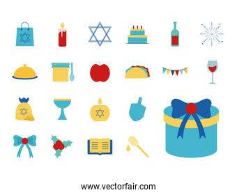 Hanukkah and jewish flat style icon collection vector design