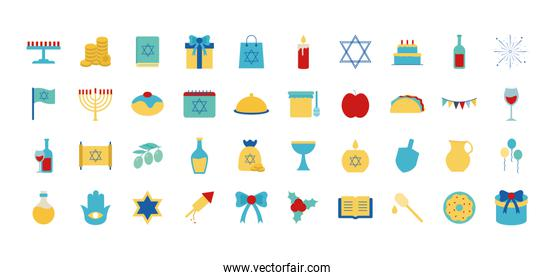 Hanukkah and jewish flat style symbol set vector design