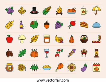 icon set of thanksgiving, line and fill style