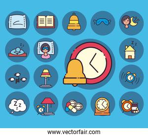 insomnia line and fill style collection of icons