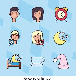 insomnia line and fill style icon set vector design